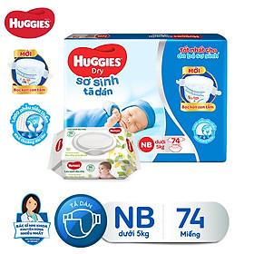 Tã dán sơ sinh Huggies Newborn NB74 - 74 miếng (dưới 5 kg) [Tặng khăn ướt 64 tờ]