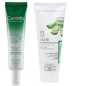 Combo kem ngừa và giảm bọng mắt chiết xuất thảo dược Beauskin Centella Cica Eye Cream (30g) và sữa rửa mặt dabo HÀN QUỐC