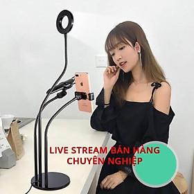 Giá kẹp micro, điện thoại và đèn led hỗ trợ live stream