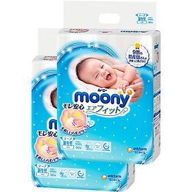 Bộ 2 tã dán cao cấp Moony Newborn 90 [Tặng bộ quần áo Nous 9-12m]-1