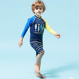 Bộ đồ bơi bé trai dài tay chống nắng, chất thun bơi đẹp co giãn đa chiều, mau khô, sắc màu trẻ trung mạnh mẽ   BT21