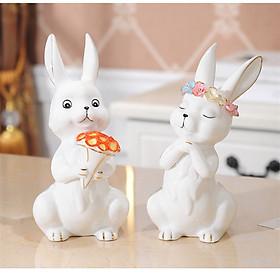 Cặp Đôi Thỏ Tặng Hoa - Đính họa tiết