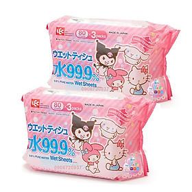 Combo 6 Khăn Ướt Nhật LEC 99.9% nước tinh khiết E90345 Sanrio (80 Tờ x 6)