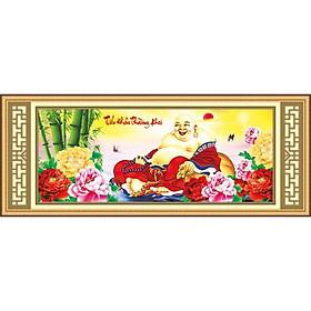Tranh thêu chữ thập 5d Tiếu Khẩu Trường Khai - Phật di lạc bên hoa mẫu đơn < 53417 > chưa thêu