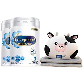 Bộ 2 Lon Sữa Bột Enfagrow A2 Neuropro 3 Cho Trẻ Từ 1 – 6 Tuổi – 800g Tặng 1 Bộ Mền Gối Bò Sữa