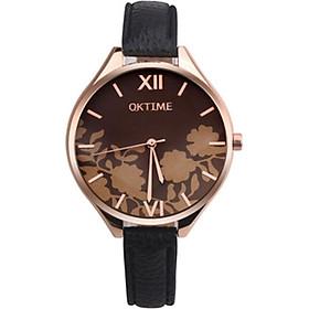 Quartz Watch Black Wrist Watches Flower Dial Dress Style Ladies