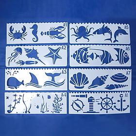 Bộ 8 Thước Vẽ Mỹ Thuật Trang Trí Sáng Tạo - Đại Dương