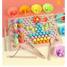 Đồ chơi gỗ Gắp hạt kèm câu cá, giúp bé phân biệt màu sắc, khéo léo đôi tay