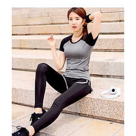 Sét Bộ đồ tập Áo thun + Quần thể dục, Gym, Yoga, Aerobic nữ cao cấp Kip05