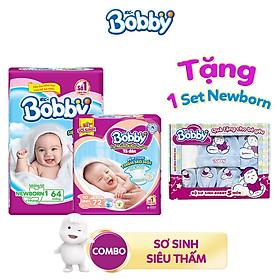[Tặng 1 set newborn: mũ, yếm và bao tay sơ sinh] Combo 1 Miếng lót Bobby NB1 (64 miếng) và 1 Tã dán Bobby XS72
