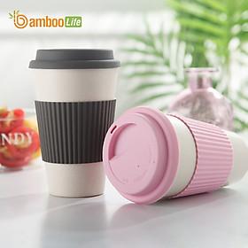 Ly uống nước Cốc uống nước từ sợi tre thiên nhiên Bamboo Life BBL018 có nắp đậy hàng chính hãng