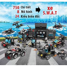 Đồ chơi lắp ráp xếp hình trẻ em bằng nhựa ABS an toàn - Mẫu XE POLICE SWAT biến đổi Thành Máy Bay, Robot  Với 750 chi tiết 24 trong 1