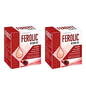 Combo 2 Hộp FEROLIC Bổ Sung Sắt, Acid folic, Vitamin B12 Cho Người Thiếu Máu