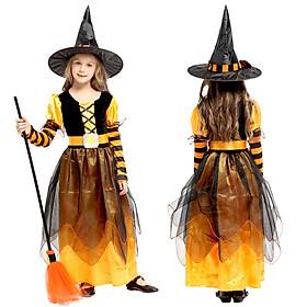 Bộ váy Phù thủy cam dài hóa trang Halloween cho bé G-0309B