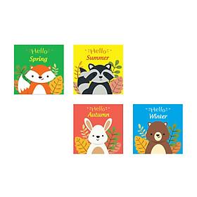 Bộ 4 Tranh Treo Tường Cho Trẻ Nhỏ Xin Chào Bốn Mùa Canvas Có Viền W1188