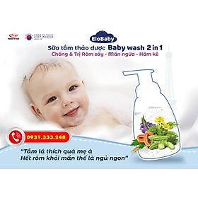 Tắm bé thảo dược baby wash 2 in 1 ELobaby 250ML – NĂNG ĐỘNG- ngừa rơm sảy, mẩn ngứa, hăm tả