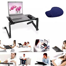 Bàn laptop gấp gọn đa năng tùy chỉnh lên xuống nghiêng theo ý muốn - Bàn để máy tính gấp gọn thông minh giảm đau nhức lưng, vai cổ Tặng kèm miếng lót chuột đệm tay cao cấp