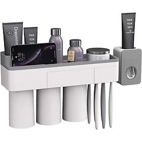 Kệ để đồ phòng tắm thông minh OENON có nhả kem đánh răng tự động kèm cốc hút từ tính Tặng 1 Móc Inox 304