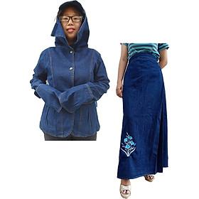 Nguyên Bộ Đồ Chống Nắng Jean Loại Vải Tốt Có Áo Khoác và Váy Chống Nắng Thêu Họa Tiết Hoa Thanh Tú Xanh