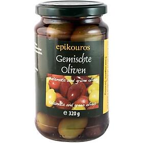 Hỗn hợp oliu Kalamata và Oliu xanh hữu cơ ngâm nước muối 320g - Epikouros