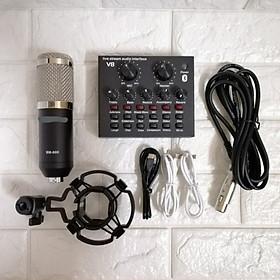 Bộ live stream thu âm sound card v8 bluetooth và micro BM 900