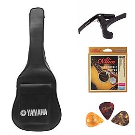 Combo phụ kiện guitar thùng acoustic gồm 4 phụ kiện bao Yamaha Capo Phím Gải và Dây Alice