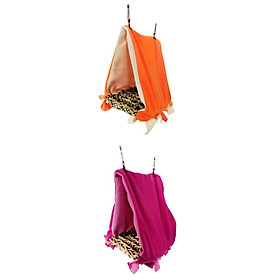 2-Piece Parrot Hanging Perch Tent Cage Triangle Hammock Hut Accessories