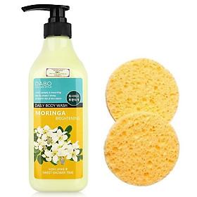 Combo 1 sữa tắm trắng da hương hoa chùm ngây dịu mát Dabo Moringa Hàn quốc ( 750ml) + 2 bông rửa mặt