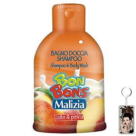 Sữa tắm gội trẻ em Malizia Bon Bons đào và sữa tươi 500ml tặng kèm móc khóa