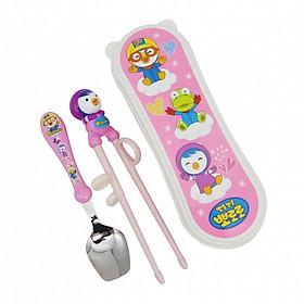 Set tập ăn 2 món (thìa, đũa nhựa xỏ ngón) Edison - hình Pororo hồng, có hộp tặng xe trượt đà cho bé VBC-123-6 (ngẫu nhiên)