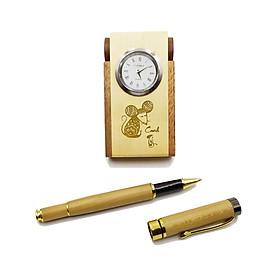 Hộp cắm viết & Bút gỗ cao cấp - Chủ Đề Năm Mới