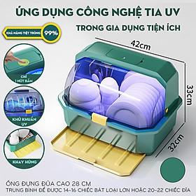 Tủ đựng bát đĩa khử trùng bằng tia UV giúp diệt 99,9% vi khuẩn - Giá úp bát có nắp đậy chống bụi bẩn HÀNG CHÍNH HÃNG