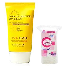 Combo 1 kem chống nắng Daily UV Deffence Sun Cream Beauskin Hàn Quốc SPF 50 PA+++ và 1 bông tẩy trang ( 50 miếng)
