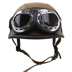 PU Motorcycle Helmet Half Face Retro Helmet With Goggles Universal Helmet