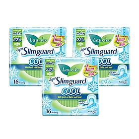 Combo 3 gói Băng Vệ Sinh Ban Ngày Laurier Super Slimguard Cool Mát Lạnh - Kiểm Soát Mùi Siêu Mỏng Cánh 1mm (22,5cm-16M)