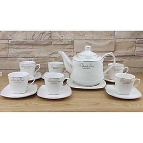 Bộ ấm trà kèm 6 cốc men sứ xương hàng cao cấp