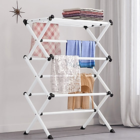 Folding Drying Rack Metal Stand Hanging Saving Space Multifunction Home Laundry Clothes Towel Organizer