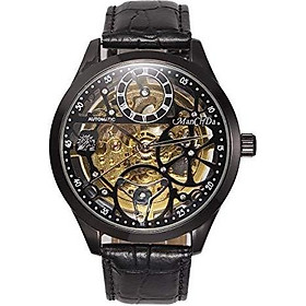 ManChDa Wrist Watch Skeleton Dial Mechanical Mens Watch See Through Waterproof 47MM XL Automatic Analog Leather Band Strap
