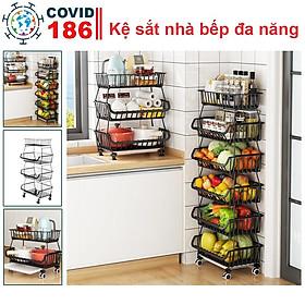Kệ rau củ đa năng nhiều tầng có bánh xe tiện lợi nhà bếp, giá đựng rau củ, hoa quả, trái cây, xoong nồi,gia vị tiện dụng