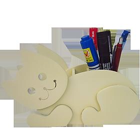 Hộp Cắm Bút Gỗ Mèo HV03 - Trắng Kem