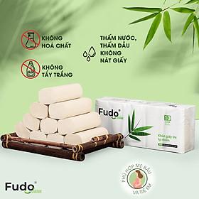 Khăn giấy tre Fudo - Combo 10 Cuộn Giấy Vệ Sinh Không Lõi (4 lớp): 100% bột tre, không tạo mùi, không tẩy trắng, siêu mềm, siêu mịn, siêu dai