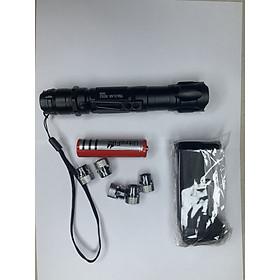 Đèn Pin Laser (Lazer) 009 Công Suất Cao Siêu Sáng Vỏ Đen Siêu Sáng Gồm Pin,Đồ Sạc Và 5 Đầu Đèn Thay Đổi [Bút laser.Bút Trình Chiếu]
