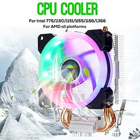 CPU Cooler 2 Heatpipe 4 Pin RGB Fan For Intel 775/1150/1151/1155/1156/1366 AMD