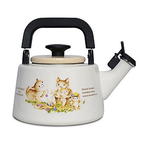 Ấm đun nước tráng men cao cấp Nhật Bản Fujihoro,Hoa Văn Con mèo, KIT-2.2K, sử dụng bếp từ
