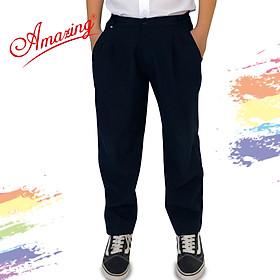 Quần dài xanh đen học sinh Amazing, lưng thun, xếp 2 ly, dây kéo, form rộng, size từ 20 đến 95kg