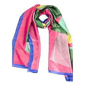 Khăn Choàng Cổ Lụa Phối Màu Vàng Hồng Xanh Lá - Silk - 180x90cm - Mã KS005