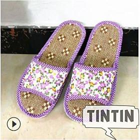 Dép đế cói vải đi 4 mùa trong nhà - văn phòng - chống thối chân TINTIN DNL08