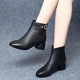 Giày Bốt Nữ Đế Vuông 4cm Da PU Mã H84