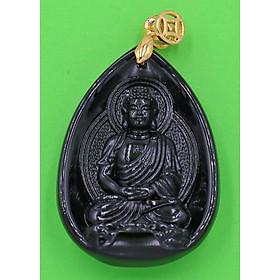 Hình đại diện sản phẩm Mặt dây chuyền Dược sư Lưu Ly Quang Vương Phật đá thạch anh đen 4cm MEDS9