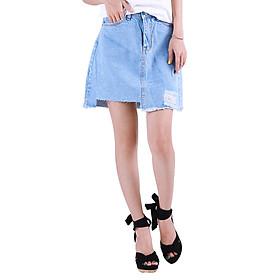 Chân Váy Jean Nữ Cắt Rách Trên Gối CV005 Miha Fashion - Xanh